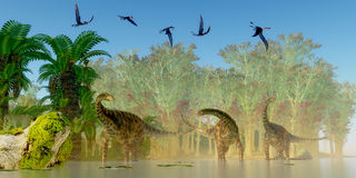 Spinophorosaurus Dinosaurs Swamp. A flock of Dorygnathus reptiles fly over a herd of Spinophorosaurus sauropod dinosaurs in a Jurassic swamp Royalty Free Stock Photos