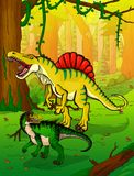 Spinosaur on the background of forest. Vector illustration Stock Images