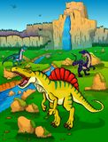Spinosaur on the background of nature. Vector illustration Stock Photo