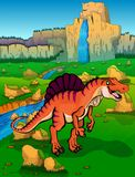 Spinosaur on the background of nature. Vector illustration Royalty Free Stock Photo