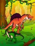 Spinosaur op de achtergrond van bos Stock Foto