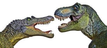 Spinosaurus对峙与暴龙Rex 免版税库存图片