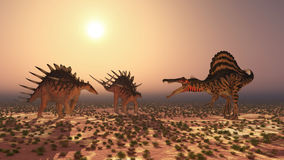 Spinosaurus attacca il Kentrosaurus Immagine Stock
