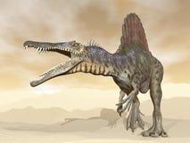 Spinosaurus dinosaur in the desert - 3D render Stock Image