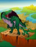 Spinosaurus en roofvogel met landschapsachtergrond royalty-vrije illustratie
