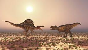 Spinosaurus et tyrannosaure Rex Photo stock