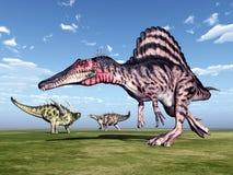 Spinosaurus and Gigantspinosaurus vector illustration