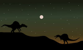 Spinosaurus in hills scenry silhouette Stock Image