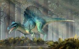 Spinosaurus i en skog royaltyfri foto