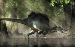 Spinosaurus i ett träsk royaltyfri bild