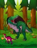 Spinosaurus no fundo da floresta ilustração royalty free