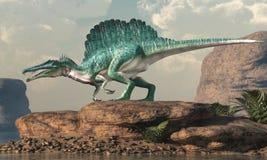 Spinosaurus por un lago árido stock de ilustración