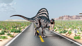 Spinosaurus on the Route 66 Stock Photography