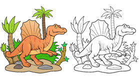 Spinosaurus searches for prey. Funny Spinosaurus searches for prey vector illustration