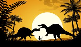 Spinosaurus. Silhouettes of dinosaurs. Two Spinosaurus on sunset background. Vector illustration Royalty Free Stock Images
