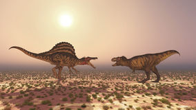 Spinosaurus and Tyrannosaurus Rex. Computer generated 3D illustration with the dinosaurs Spinosaurus and Tyrannosaurus Rex Stock Photo