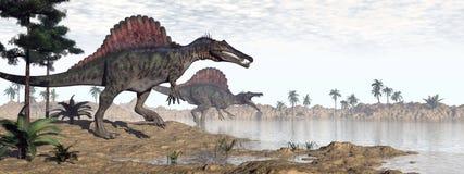Spinosaurusdinosaurussen in 3D woestijn - geef terug vector illustratie