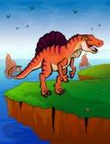 Spinosauruson el fondo del mar Fotos de archivo
