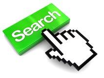 Spinta del tasto di ricerca Immagine Stock