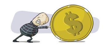 Spinta della moneta del dollaro Fotografia Stock Libera da Diritti