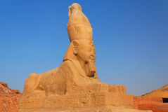 Spinx. A sphinx of Ramesses II in front of the Wadi es-Sebua temple (Nasser Lake in Egypt Royalty Free Stock Image