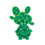 Spiny cactus speaking. Cartoon emotions character vector Illustration Stock Photo