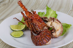 Spiny lobster. Grilled with lime and spices Stock Image