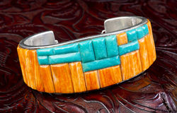 Spiny oyster and Turquoise Bracelet. Stock Image