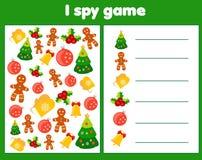 Spio il gioco per i bambini Oggetti di conteggio e del ritrovamento Conteggio dell'attività educativa dei bambini Natale e tema d illustrazione vettoriale