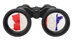 Spionage i det Frankrike begreppet, tolkning 3D royaltyfri illustrationer