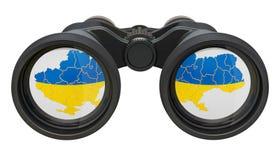 Spionage i det Ukraina begreppet, tolkning 3D royaltyfri illustrationer