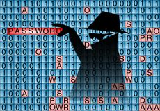 Spionen stjäler lösenord Royaltyfri Foto
