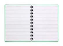 Spiraal gevoerd oefenboek stock foto