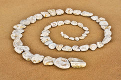 Spiraal op zand royalty-vrije stock fotografie