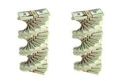 Spiraal van Dollarrekeningen Stock Afbeeldingen