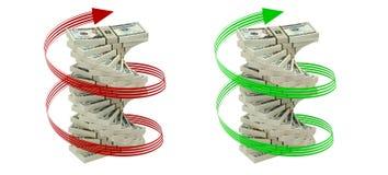 Spiraal van 20 Dollarsrekeningen Stock Foto's