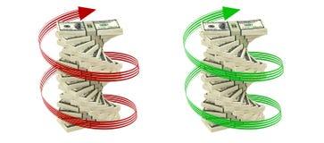 Spiraal van 100 Dollarsrekeningen Stock Fotografie