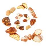 Spiraal van geïsoleerde die broodjes en brood wordt gemaakt, royalty-vrije stock foto's