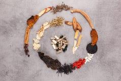 Spiraal van verschillende Chinese kruiden wordt gemaakt dat royalty-vrije stock foto