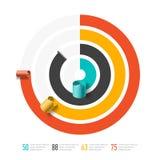 Spiraalvormig bedrijfsgrafiekmalplaatje, infographicselement Stock Foto
