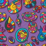 Spiraalvormig de kleuren naadloos patroon van het vormbeeldverhaal Stock Afbeeldingen