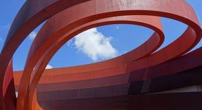 Spiraalvormig fragment van een modern gebouw Architecturale abstractie royalty-vrije stock fotografie
