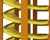 Spiraalvormig spoor in het stapelen van blokken, 3D illustratie Stock Fotografie