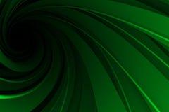 Spiraalvormige 3D, groen op zwarte Stock Afbeelding