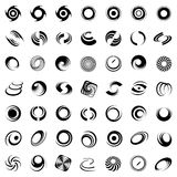 Spiraalvormige beweging en omwenteling. 49 ontwerpelementen. Royalty-vrije Stock Foto