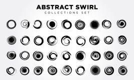 Spiraalvormige beweging en omwenteling Geplaatste de elementen van het ontwerp Stock Fotografie