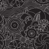 Spiraalvormige bloemen en golven Royalty-vrije Stock Foto's