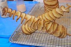 Spiraalvormige chips voor het frituren stock fotografie