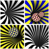 Spiraalvormige Draaikolk Vastgestelde Vector Vector Optisch 3d Art. De spiraal Verdraaide Vorm van de Draaikolktunnel Het Effect  vector illustratie