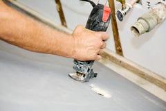 Spiraalvormige Drywall van de Besnoeiingen van de Zaag Royalty-vrije Stock Afbeeldingen